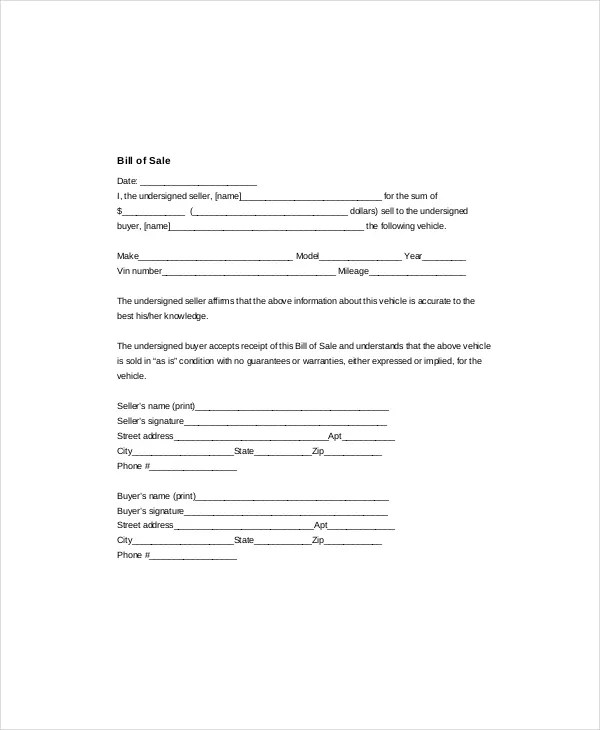 Bill Of Sale Template - 8+ Free Word, PDF Documents Download Free