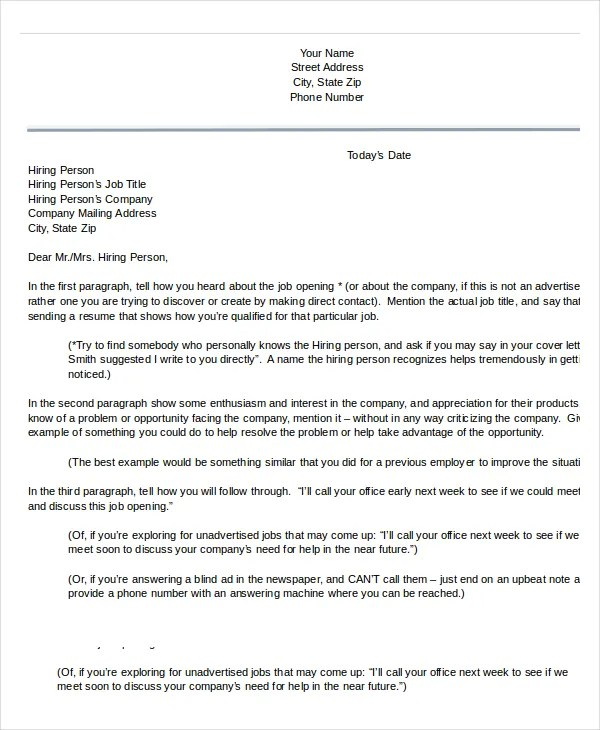 Cover Letter Template - 17+ Free Word, PDF Documents download Free