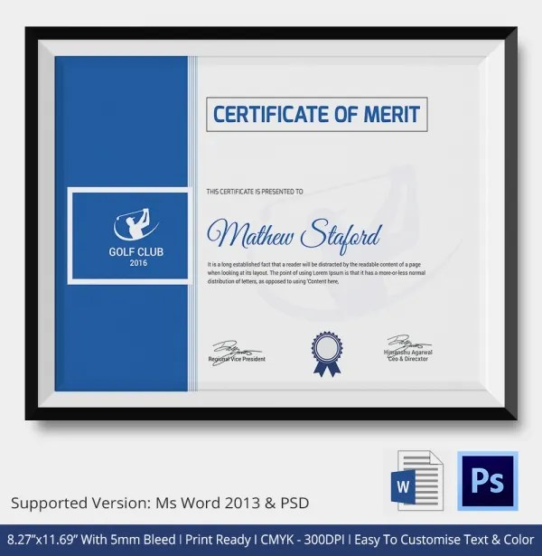 5 Golf Certificates Psd Word Designs Design Trends Premium Psd