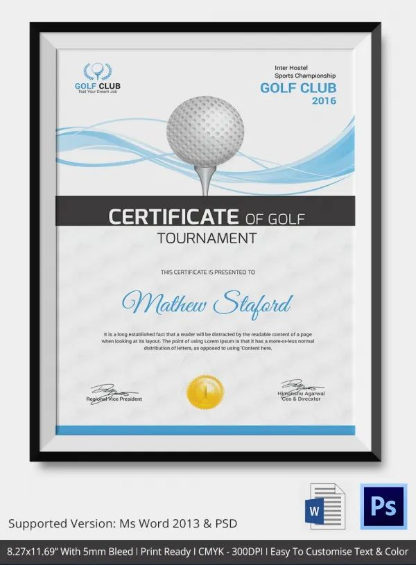 free golf certificate templates for word