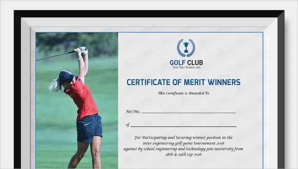 Golf Certificate Template - 9+ Word, PSD Format Download Free