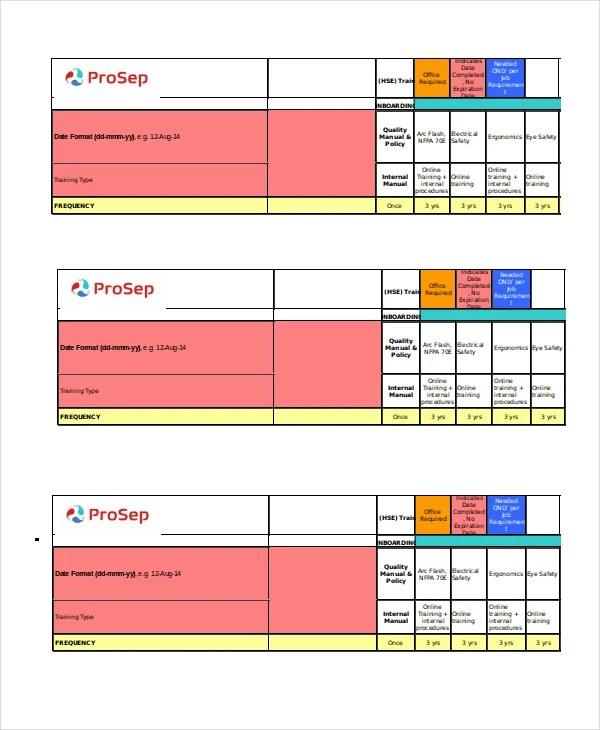 training matrix template free excel - Josemulinohouse - free training templates
