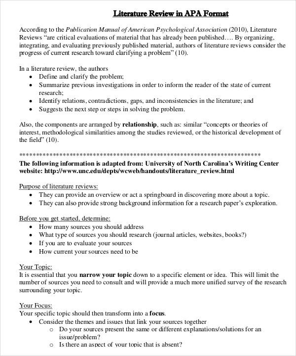 examples of literature reviews in apa format