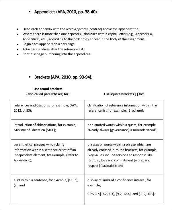 8+ APA Format Examples Free  Premium Templates