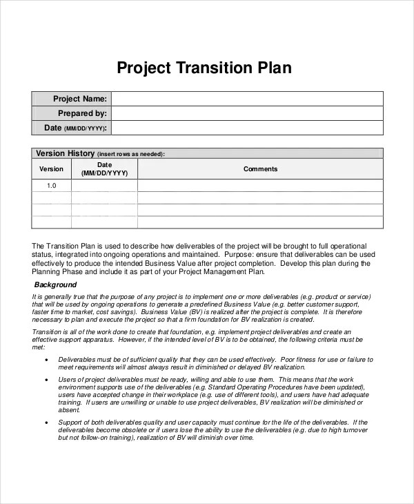 Project Plan Template - 10+ Free Word, PDF Document Downloads - transition plan template