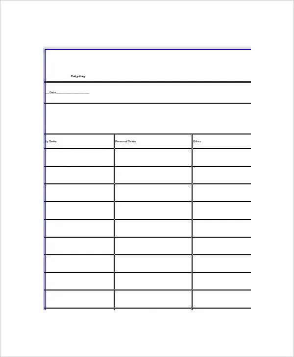 daily diary template word - Ozilalmanoof - daily diary template