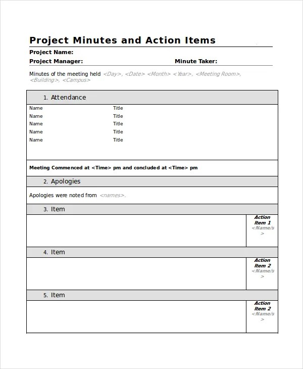 Project Meeting Minutes Template Meeting Minutes Template 01 20 - meeting notes template