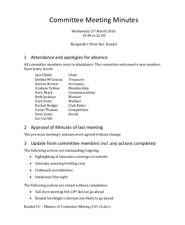Meeting Minutes Template - 10+ Free Word, PDF Document Downloads