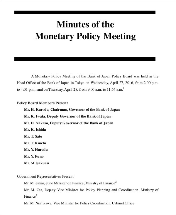 17+ Board Meeting Minutes Examples Free  Premium Templates
