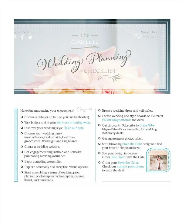 Wedding Planner Checklist - 12+ Free Word, PDF, PSD Documents