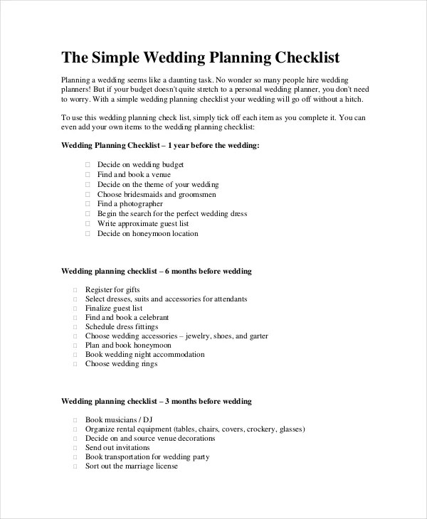 Wedding Planner Checklist - 12+ Free Word, PDF, PSD Documents - wedding planning checklist