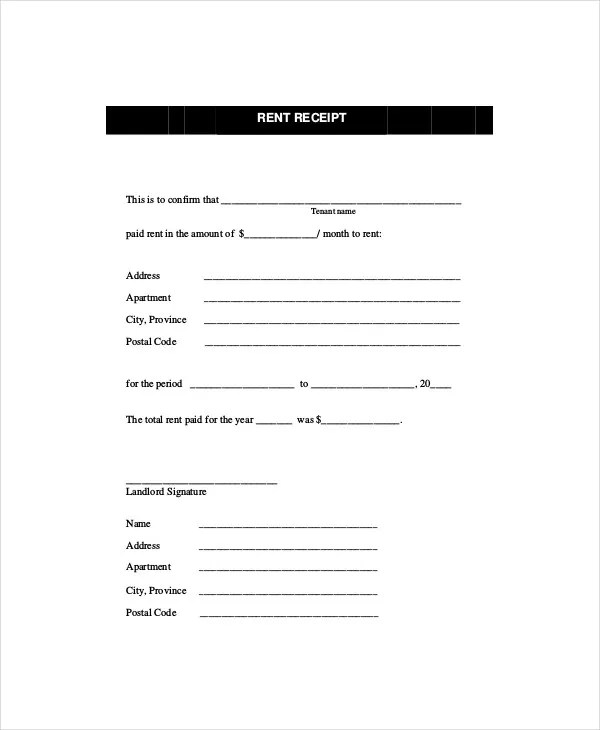 Rent Receipt Template - 8+ Free Word, PDF Documents Download Free
