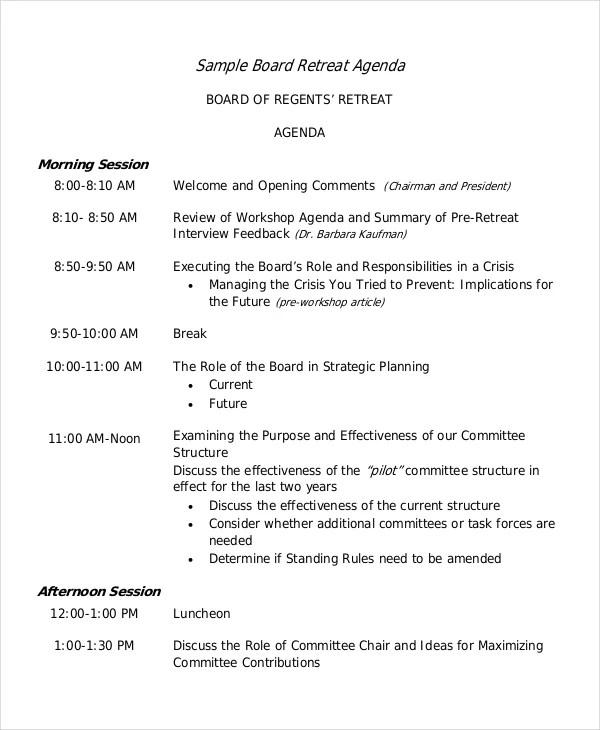 Retreat Agenda Template - 7+ Free Word, PDF Documents Download