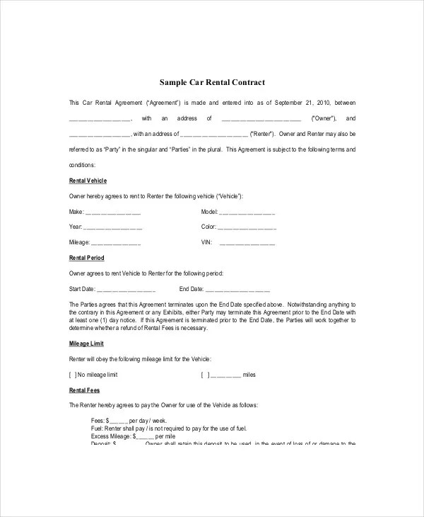 car contract template templatebillybullock - rent contract templates