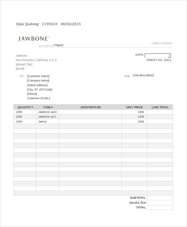 Credit Memo Templates Credit Template - 8+ Free Word, Pdf - sample credit memo