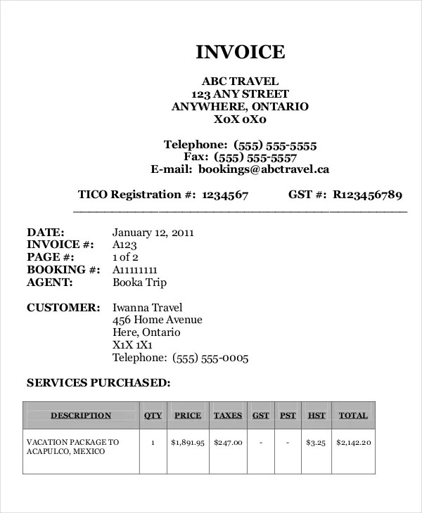 Travel Agency Invoice Template - 18+ Free Word, PDF Documents
