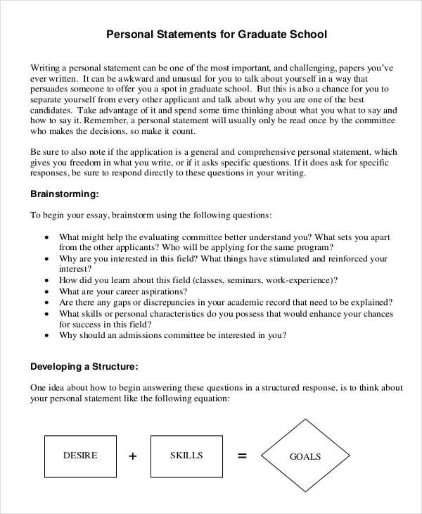 10+ Graduate School Personal Statement Examples Free  Premium