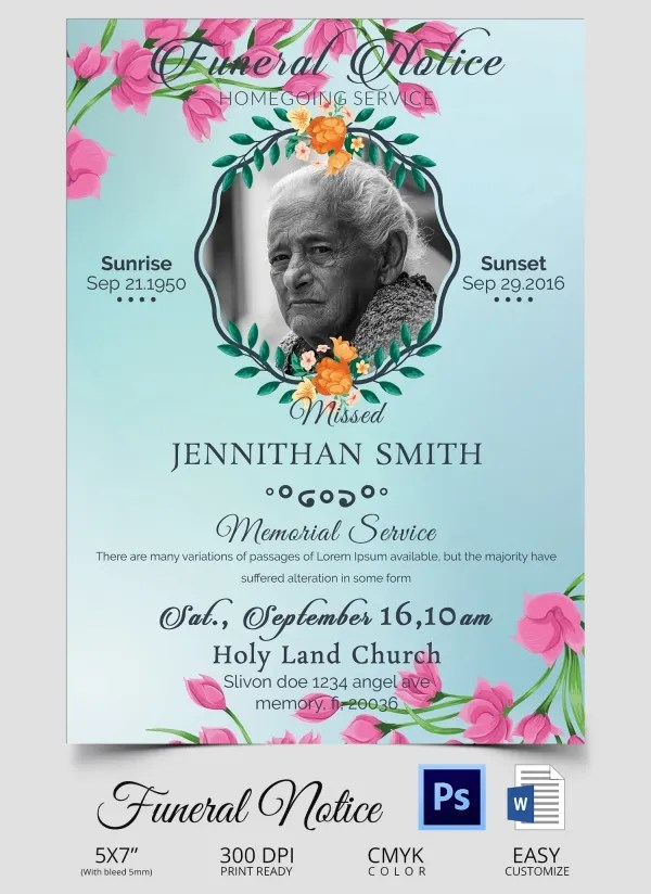 Funeral Notice Template - 12+ Free Word, Excel, PDF, PSD Format - Funeral Announcements Template