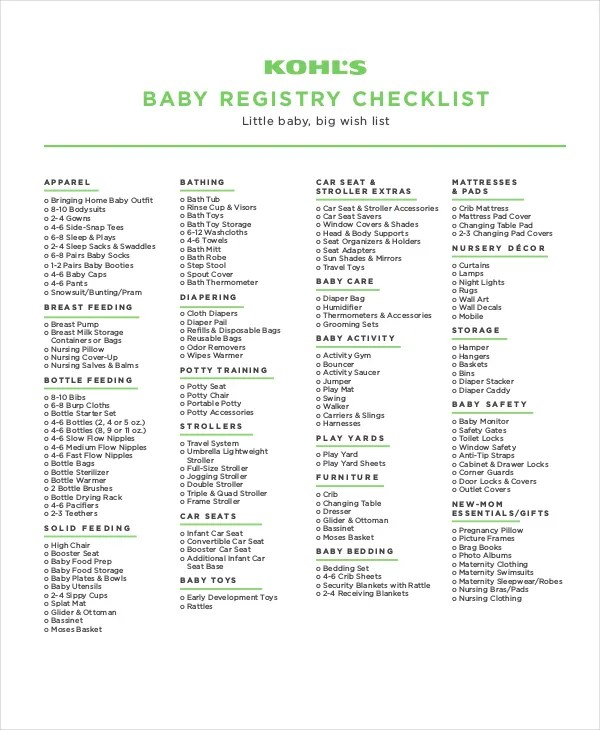 Baby Registry Checklist - 9+ Free Word, PDF, PSD Documents Download