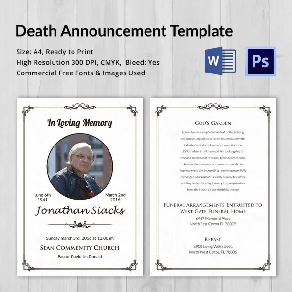 Death Announcement - 5+ Word, PSD Format Download Free  Premium - death announcement templates
