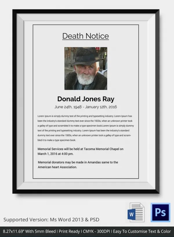Death Notice Template - 5+ Word, PSD Format Download Free