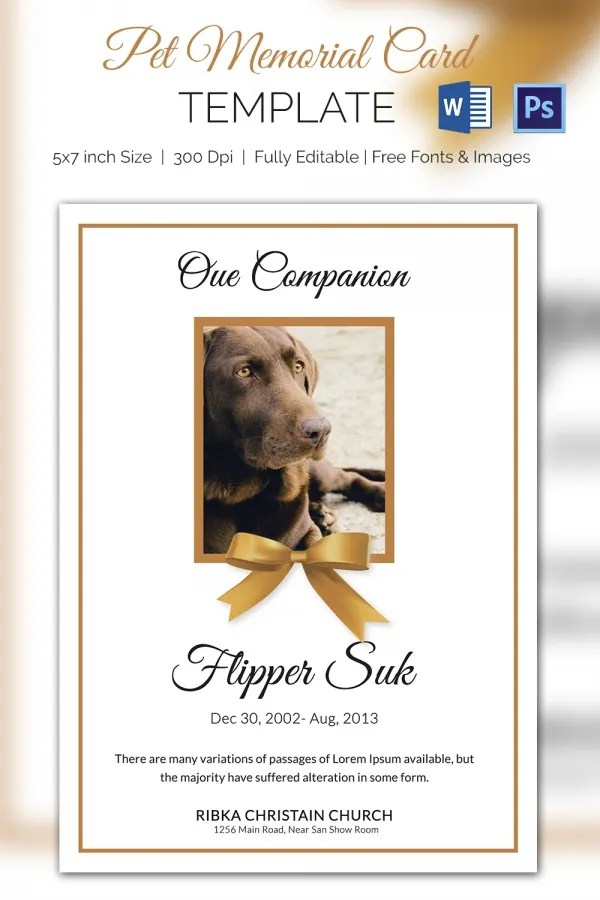 Pet Memorial Card - 5+ Word, PSD Format Download Free  Premium - obituary cards templates