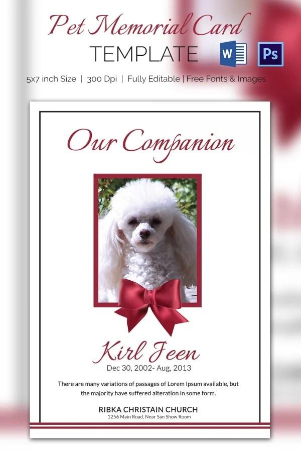 Pet Memorial Card - 5+ Word, PSD Format Download Free  Premium - memorial card template word