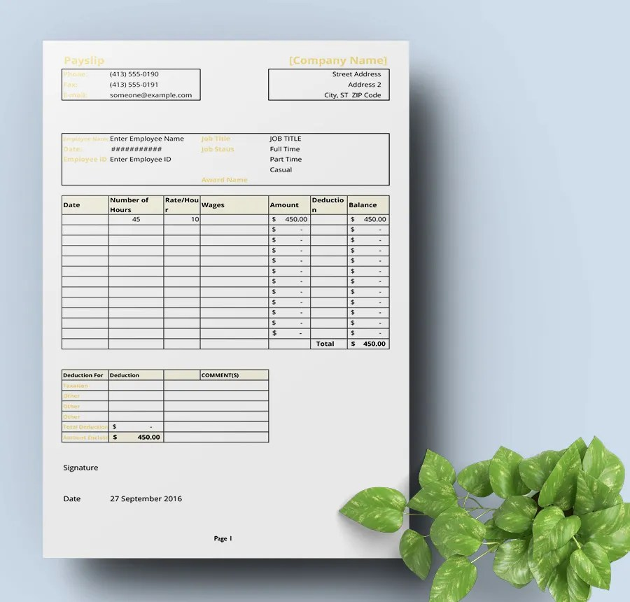 Freebie of the Day \u2013 Payslip Template Free  Premium Templates