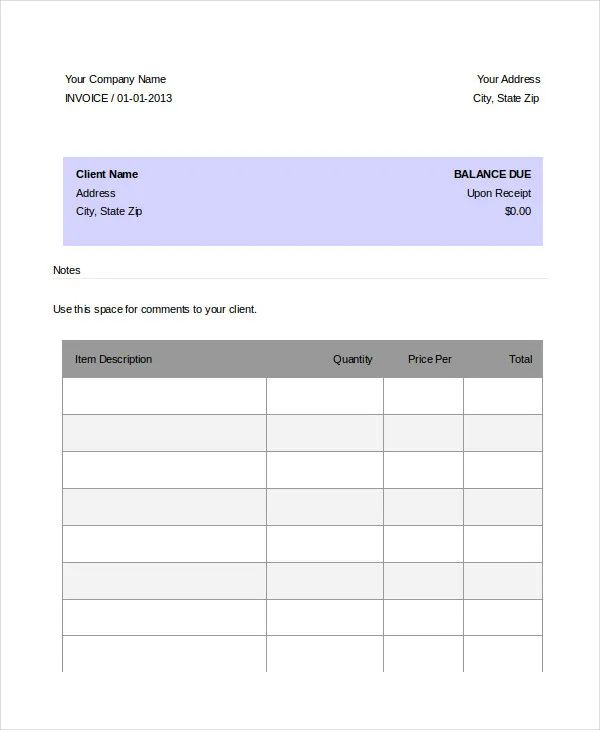 basic invoice template word