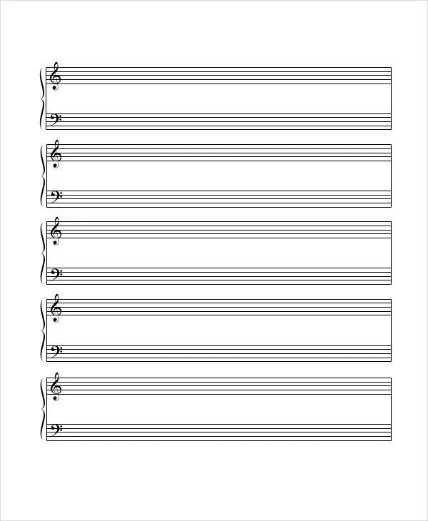 Printable Staff Paper - 6+ PDF Documents Download Free  Premium - music staff paper template