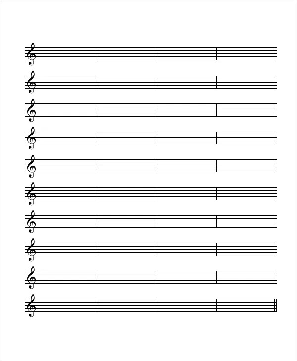 Printable Staff Paper - 6+ PDF Documents Download Free \ Premium - music staff paper template