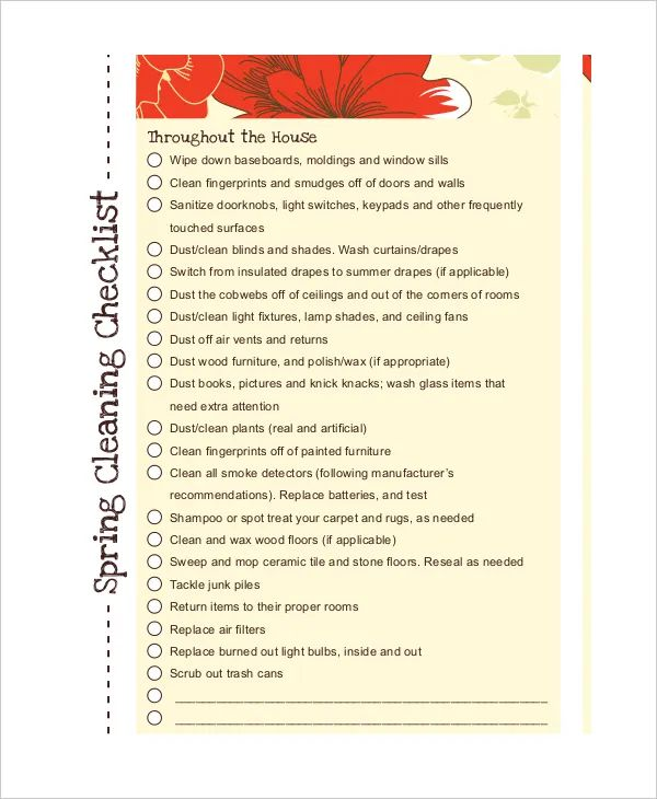 business cleaning checklist template