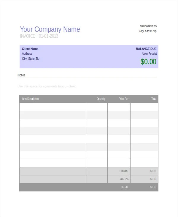 Company Invoice Template - 5+ Free Word, Excel, PDF Document