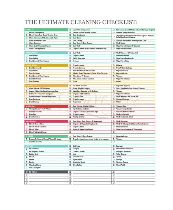 Cleaning Checklist - 23+ Free Word, PDF, PSD Documents Download - Sample Spring Cleaning Checklist