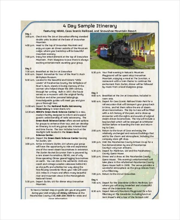 itinerary format