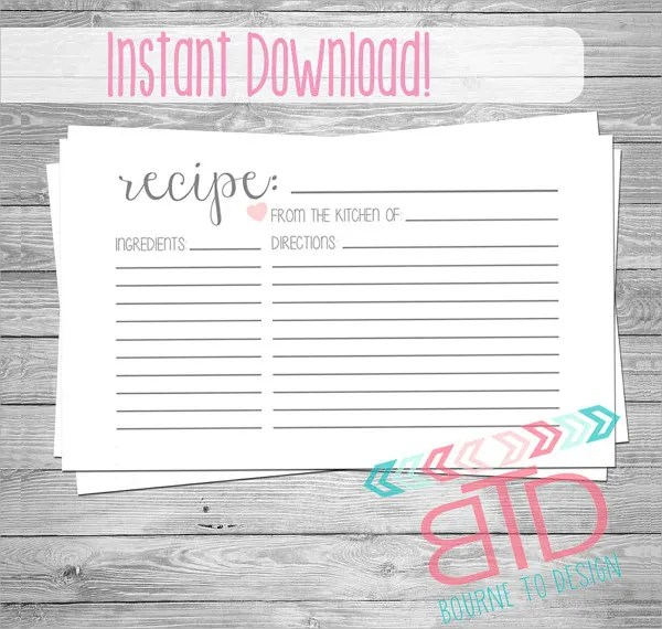 18+ Printable Recipe Card - Free PSD, Vector EPS, PNG Format - recipe card