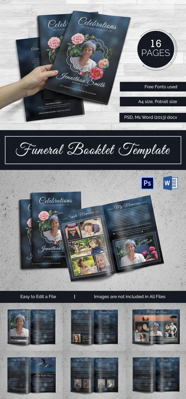 5+ Funeral Booklet Templates - Word, PSD Format Download Free - booklet template word
