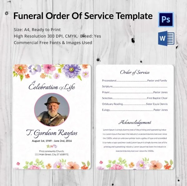5 Funeral Order of Services - Word, PSD Format Download Free