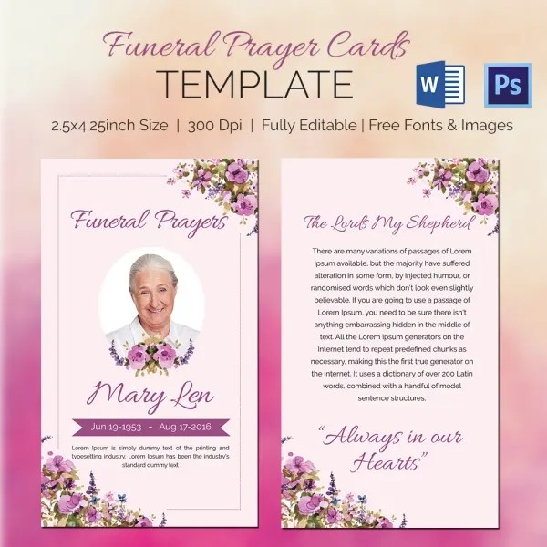 5 Funeral Prayer Cards - Word, PSD Format Download Free  Premium