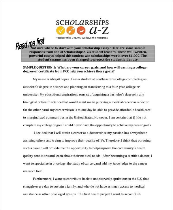 9+ Scholarship Essay Examples Free  Premium Templates - Scholarship Essay Example