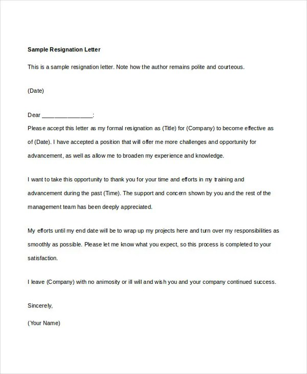 34+ Resignation Letter Word Templates Free  Premium Templates