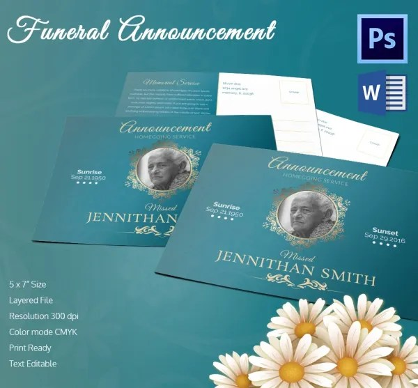 5 Funeral Announcement Templates - Word, PSD Format Download Free - Funeral Announcements Template