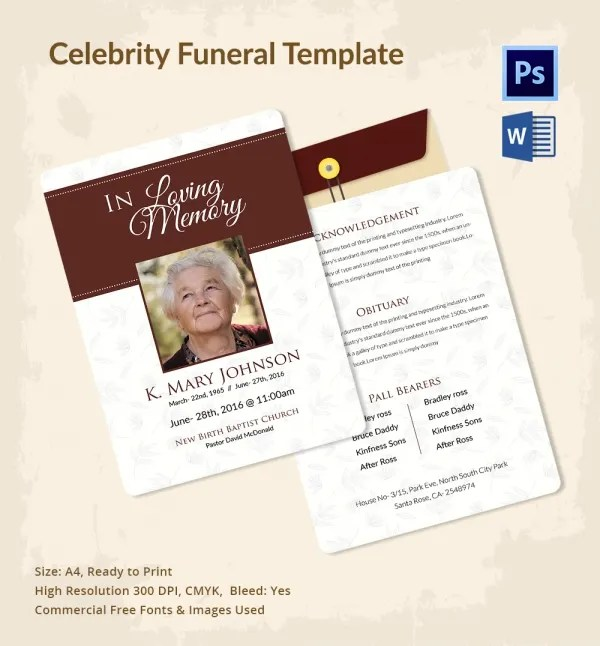 5 Funeral Templates for Celebrities - Word, PSD Format Download - funeral templates