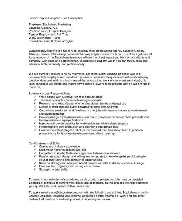 9+ Sample Graphic Designer Job Descriptions - PDF, DOC Free
