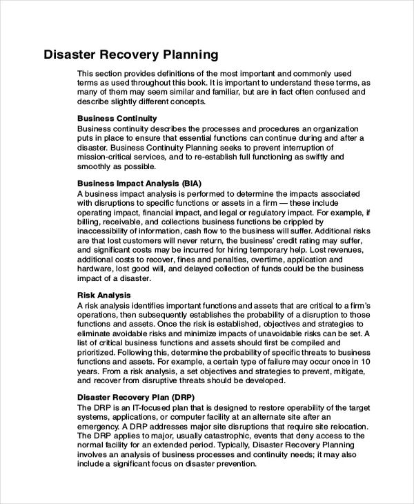 disaster recovery plan example
