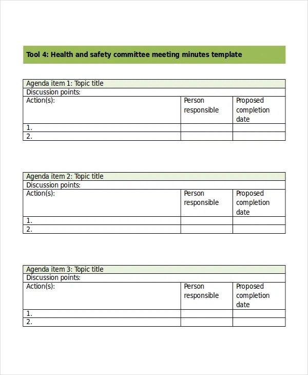 Safety Meeting Minutes Template - 5 Free Word, PDF Document - meetings template