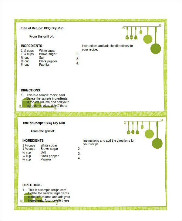 Free Recipe Card Templates For Word Free Recipe Templates  Resumetemplate.paasprovider
