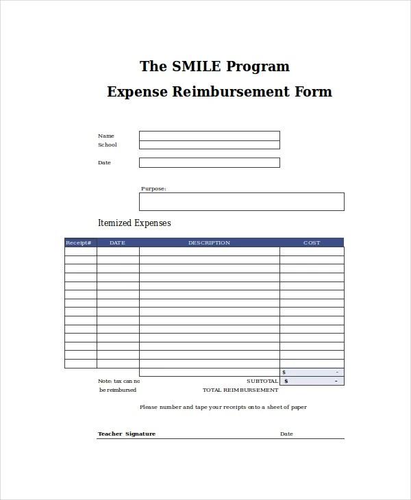 Reimbursement Form Medical Charges Reimbursement Form Sample - expense reimbursement form