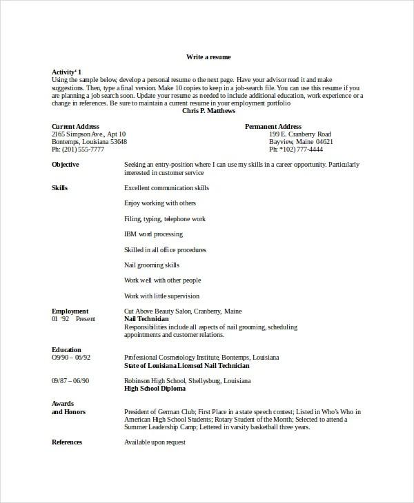 6+ Manicurist Resume Templates - PDF, DOC Free  Premium Templates - technician resume format