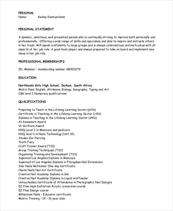 6+ Manicurist Resume Templates - PDF, DOC Free  Premium Templates
